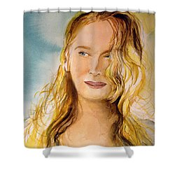 Shower Curtain featuring the painting A Little Bit Of Meryl by Allison Ashton