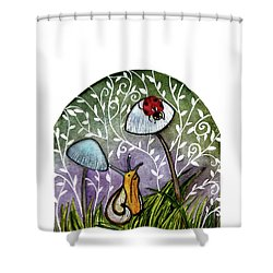 A Little Chat-ladybug And Snail Shower Curtain by Garima Srivastava