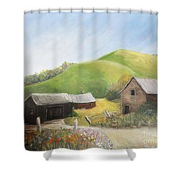 A Little Country Scene Shower Curtain by Reb Frost