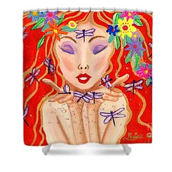 A Little Dragonfly Spell Shower Curtain by Louise Green