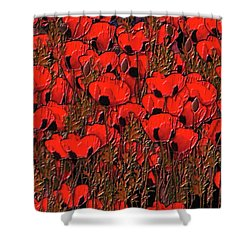 A Little Family Gathering Of Poppies Shower Curtain