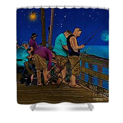 A Little Night Fishing At The Rodanthe Pier 2 Shower Curtain by Anne Kitzman