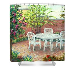 A Little Spring Patio  Shower Curtain by Nancy Heindl