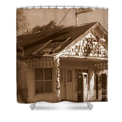 A Little Weathered Gas Station Shower Curtain by Carol Groenen