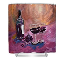 A Little Wine On My Canvas - Wine - Grapes Shower Curtain