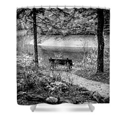 Shower Curtain featuring the photograph A Lone Bench By The Nantahala River by Kelly Hazel