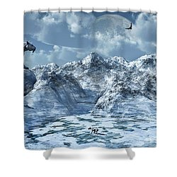 A Lone Sabre Toothed Tiger Perched Shower Curtain by Mark Stevenson