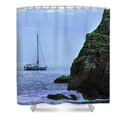 A Lone Sailboat Floats On A Calm Sea Shower Curtain