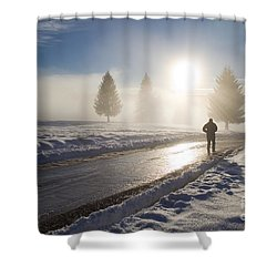 A Lonely Winter Shower Curtain by Gabriela Insuratelu