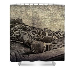 A Long Day On The Trail Shower Curtain by Annette Hugen