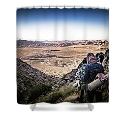 Shower Curtain featuring the photograph A Long Walk Through Joshua Tree by T Brian Jones