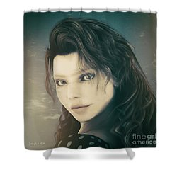 Shower Curtain featuring the mixed media A Look Back by Jutta Maria Pusl