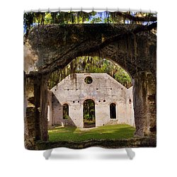 Shower Curtain featuring the photograph A Look Into The Chapel Of Ease St. Helena Island Beaufort Sc by Lisa Wooten