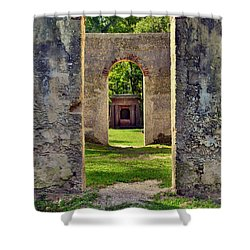 A Look Through Chapel Of Ease St. Helena Island Beaufort Sc Shower Curtain
