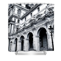 A Louvre View Shower Curtain by John Rizzuto