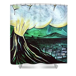 Shower Curtain featuring the painting A Love Explosion by Nathan Rhoads