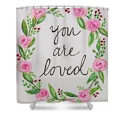 A Love Note Shower Curtain by Elizabeth Robinette Tyndall