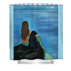 Shower Curtain featuring the painting A Loyal Buddy by Leslie Allen