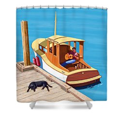 A Man, A Dog And An Old Boat Shower Curtain