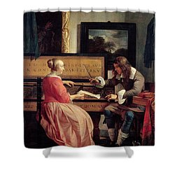 A Man And A Woman Seated By A Virginal Shower Curtain by Gabriel Metsu