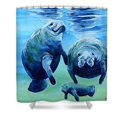 A Manatee Family Shower Curtain