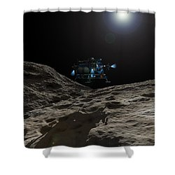 A Manned Asteroid Lander Approaches Shower Curtain by Walter Myers