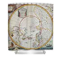 A Map Of The North Pole Shower Curtain by John Seller