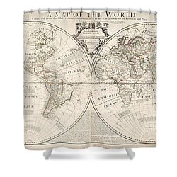 A Map Of The World Shower Curtain by John Senex