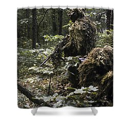 A Marine Sniper Team Wearing Camouflage Shower Curtain by Stocktrek Images