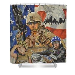A Marine's Marine Shower Curtain by Ken Pridgeon