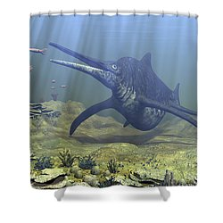 A Massive Shonisaurus Attempts To Make Shower Curtain by Walter Myers