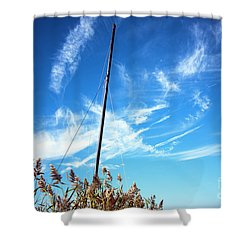 Shower Curtain featuring the photograph A Mast Appears by John Rizzuto