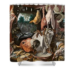Shower Curtain featuring the painting A Meat Stall With The Holy Family Giving Alms by Celestial Images