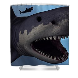 A Megalodon Shark From The Cenozoic Era Shower Curtain by Mark Stevenson