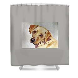 Shower Curtain featuring the painting A Mellow Yellow by Angela Davies