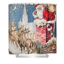 A Merry Christmas Vintage Greetings From Santa Claus And His Raindeer Shower Curtain