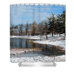Shower Curtain featuring the photograph A Mild Winter Morning by Teresa Schomig