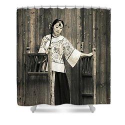 A Model In A Period Costume. Shower Curtain