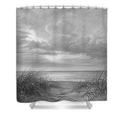 A Moment Of Tranquility - Black And White Shower Curtain