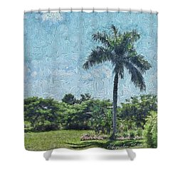 A Monet Palm Shower Curtain