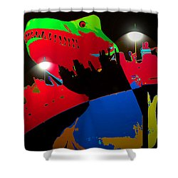 A Monstrously Fun Ride Shower Curtain by David Lee Thompson