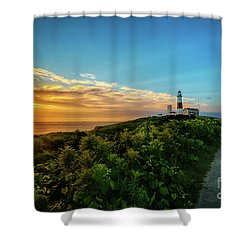 A Montauk Lighthouse Sunrise Shower Curtain