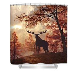 Shower Curtain featuring the digital art A Moose In Fall by Daniel Eskridge