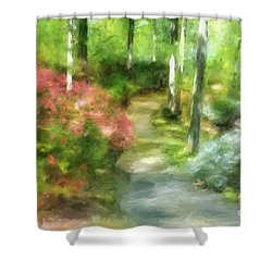A Morning Walk At Brighton Shower Curtain by Lois Bryan
