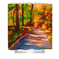 A Morning Walk Shower Curtain