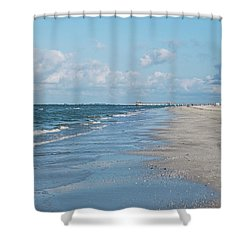 A Morning Walk On Fort Myers Beach Fort Myers Florida Shower Curtain