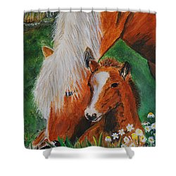 Shower Curtain featuring the painting A Mothers Love by Leslie Allen