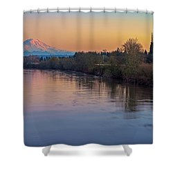 A Mt Tahoma Sunset Shower Curtain by Ken Stanback
