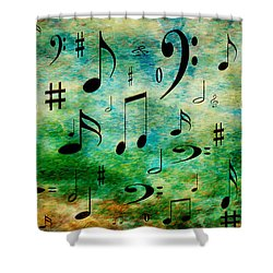 Shower Curtain featuring the digital art A Musical Storm 2 by Andee Design