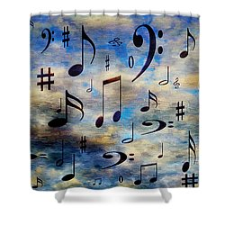 Shower Curtain featuring the digital art A Musical Storm 3 by Andee Design